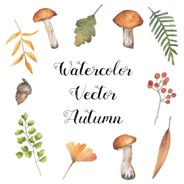 Collection d'automne aquarelle vecteur