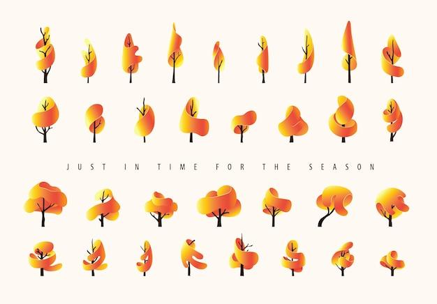 Collection d'automne d'arbres dans un style artisanal en papier