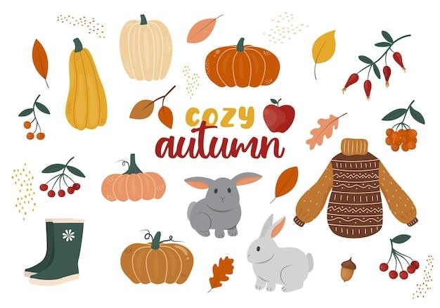 Collection d'automne confortable d'éléments de design vectoriel décoratifs tels que les feuilles de baies de citrouilles