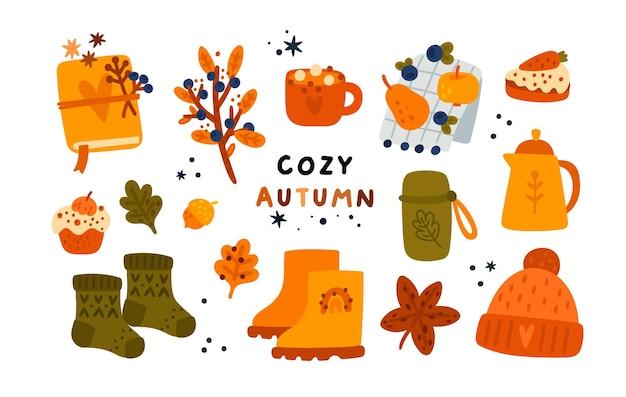 Collection d'automne confortable avec des éléments dessinés à la main théière tasse tricot chapeau cahier herbier