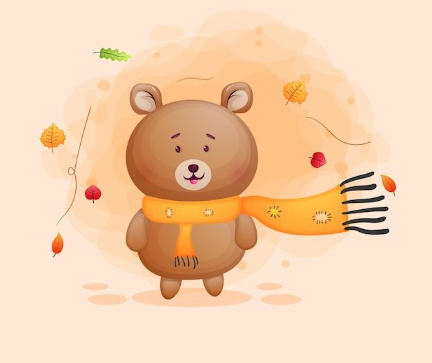 Collection d'automne de personnage de dessin animé mignon petit ours heureux