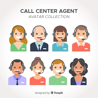 Collection d'avatar d'agent de centre d'appel avec design plat
