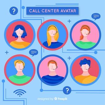 Collection d'avatar du centre d'appels