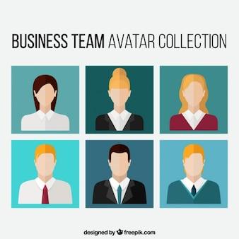Collection avatar de l'équipe d'affaires dans la conception plate