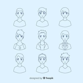 Collection d'avatar incolore dessinée à la main