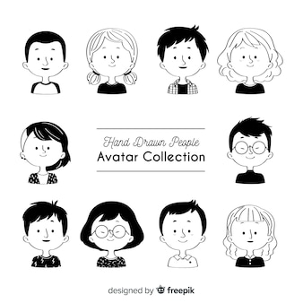 Collection d'avatar incolore dessinée à la main