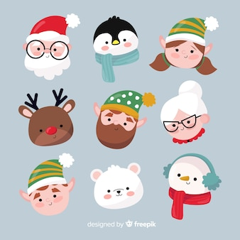 Collection d'avatar de noël dessinée à la main