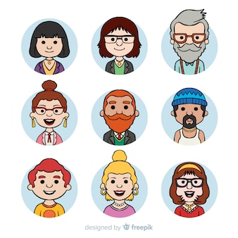 Collection d'avatar de personnes de bande dessinée