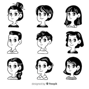 Collection d'avatar de personnes dessinées à la main