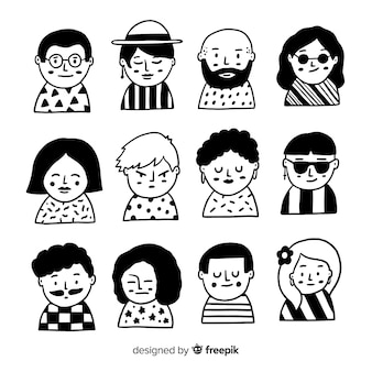 Collection d'avatar de personnes dessinées à la main