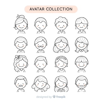 Collection d'avatar de personnes incolores dessinés à la main