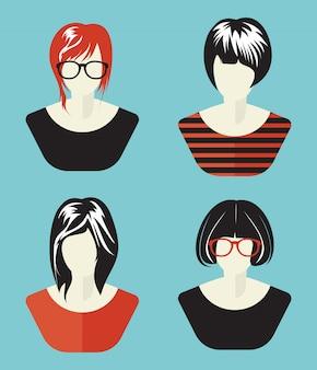 Collection d'avatar de réseau social de femme