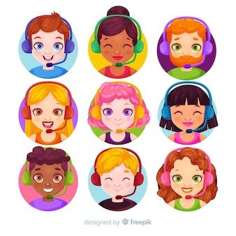 Collection d'avatars de centre d'appels au design plat