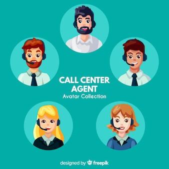 Collection d'avatars de centre d'appels