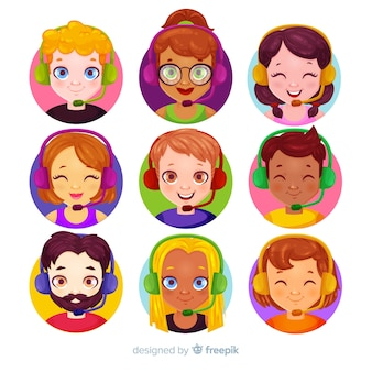 Collection d'avatars de centre d'appels