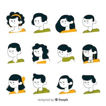 Collection d'avatars dessinés à la main