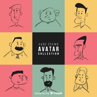 Collection d'avatars dessinés à la main