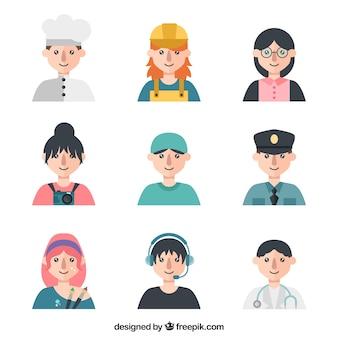 Collection d'avatars avec différentes professions