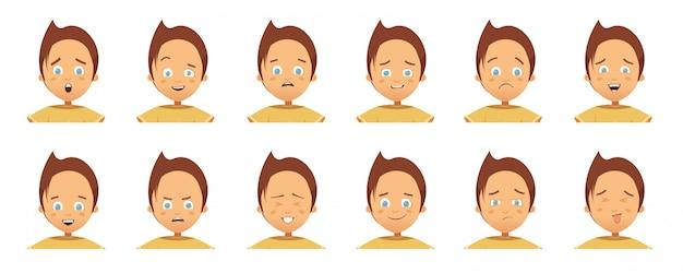 Collection d'avatars avec des émotions d'enfant