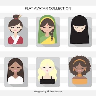 Collection d'avatars féminins à caractère ethnique