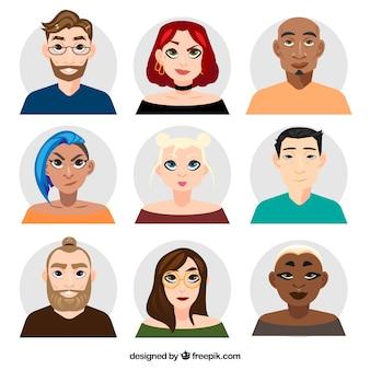 Collection d'avatars hommes et femmes