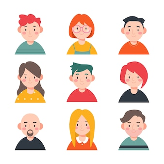 Collection d'avatars de personnages illustrés