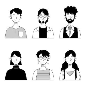 Collection d'avatars de personnes dessinées à la main