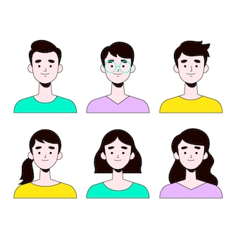 Collection d'avatars de personnes dessinées à la main