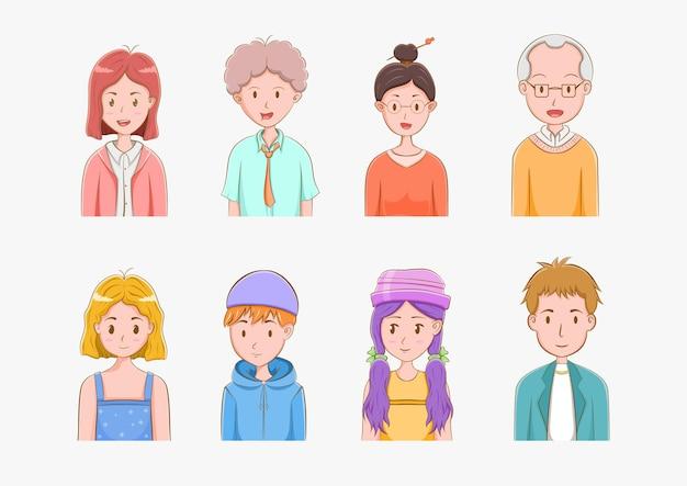 Collection d'avatars de personnes dessinés à la main