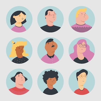Collection d'avatars de personnes diverses