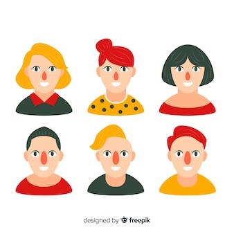 Collection d'avatars de personnes plates