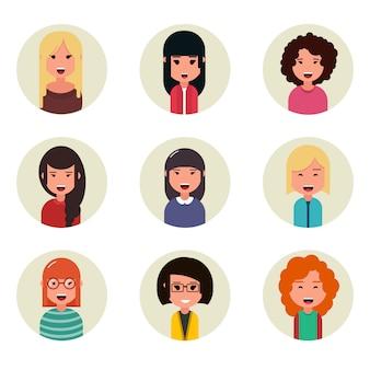 Collection d'avatars de personnes