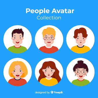 Collection d'avatars plats colorés