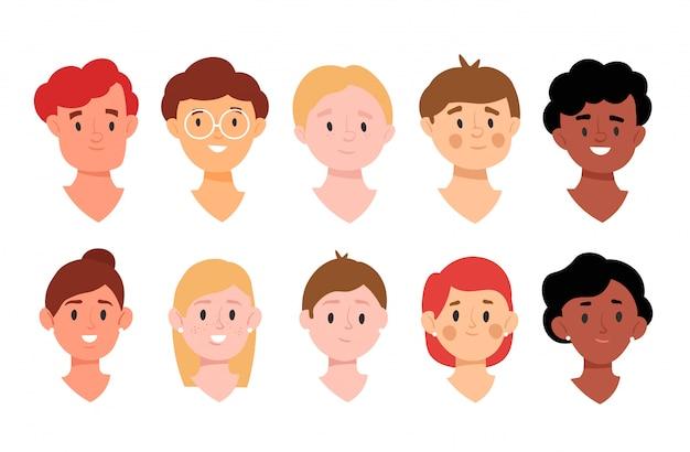 Collection d'avatars pour l'application. concept de diversité des gens.