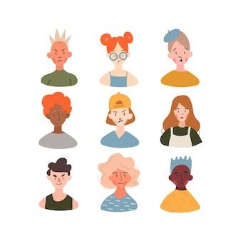 Collection d'avatars de profil d'enfants de races différentes.