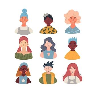 Collection d'avatars de profil de travailleurs de différentes professions, races, sexes et âges.