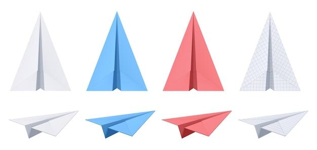 Collection d'avions en papier réaliste