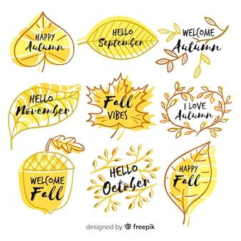 Collection de badge automne dessinés à la main