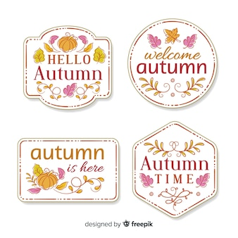 Collection de badge automne dessinés à la main