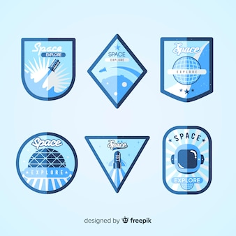 Collection de badge belle espace avec un design plat