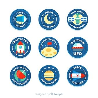 Collection de badge belle espace avec un design plat