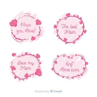 Collection de badge fête des mères dessinée à la main