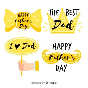 Collection de badge fête des pères dessinés à la main