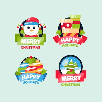 Collection de badge de noël au design plat