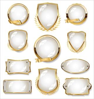 Collection de badge or et blanc et étiquettes