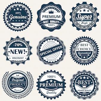 Collection de badge. qualité premium, badges de garantie.