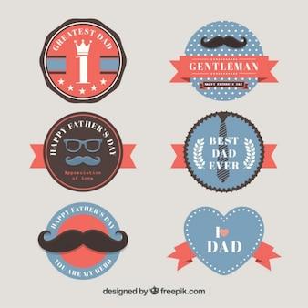 La collection de badge rétro mignon père jour