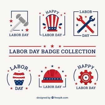 Collection de badge usa fête du travail avec un design plat