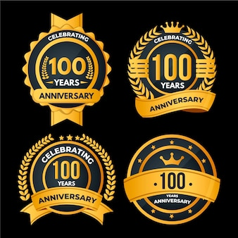 Collection de badges 100 anniversaire
