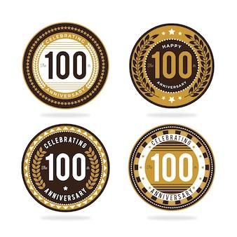 Collection de badges 100 anniversaire